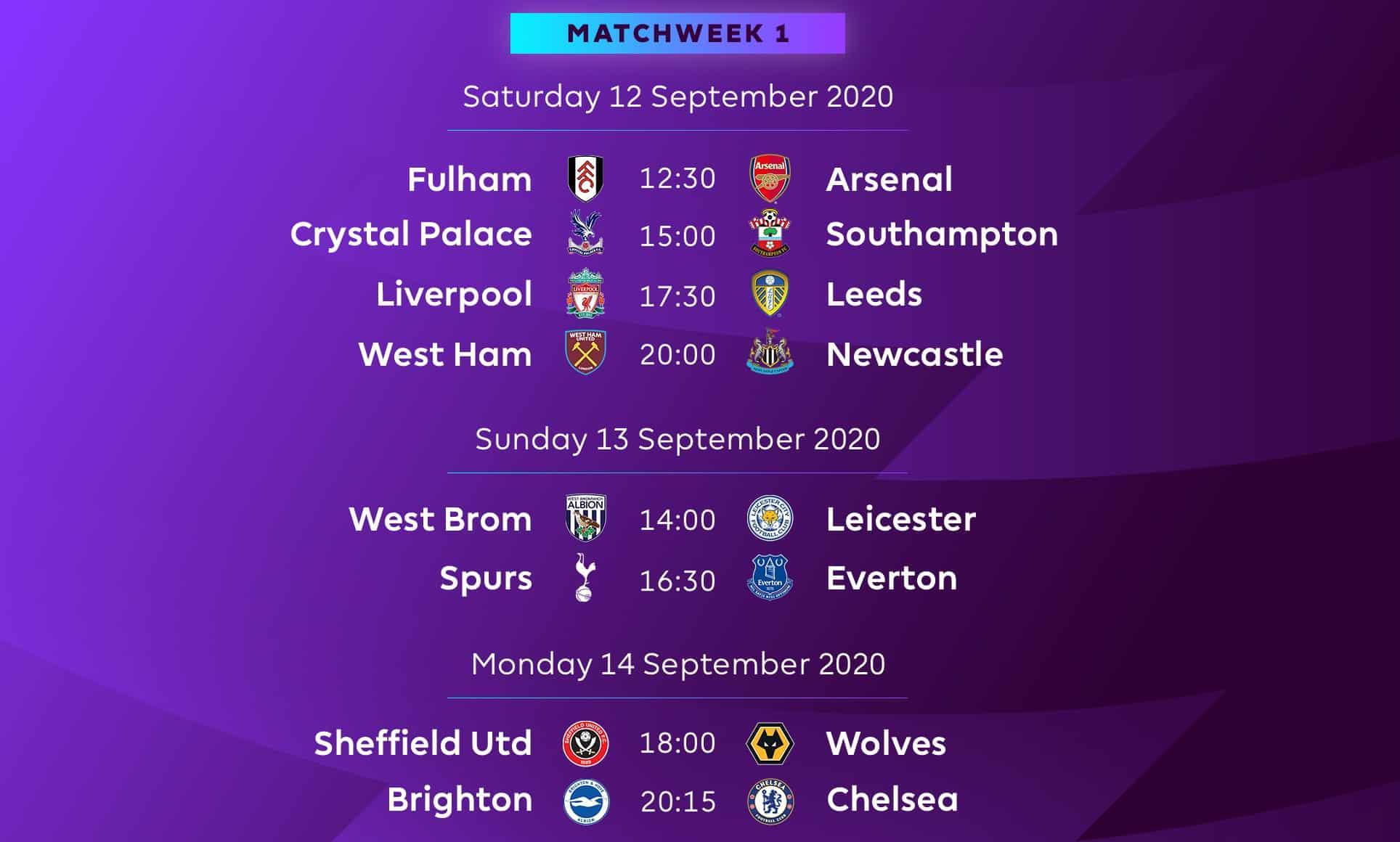 Premier League matchday 1